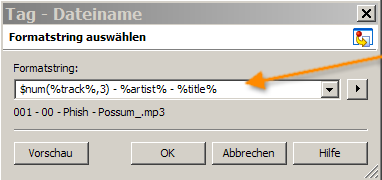 Mp3tag Formatstring Ta in Dateiname